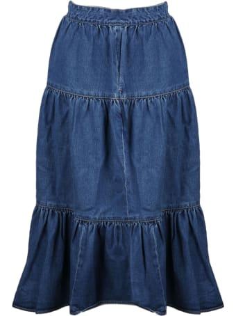 Celine Flounced Denim Skirt