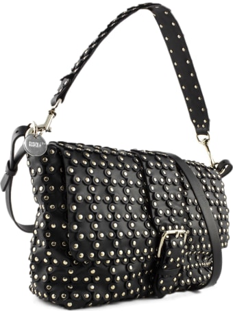 RED Valentino Black Leather Flower Puzzle Bag