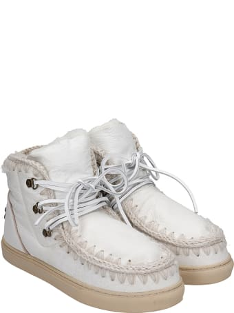 Mou Lace Up Low Heels Ankle Boots In White Leather