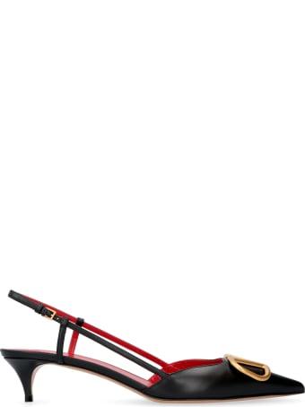 Valentino Valentino Garavani - Vlogo Leather Pointy-toe Slingback