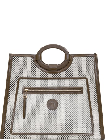 Fendi Kan U Small 13 X 19 X 9 Cm In Perforated Calf Liberty On Old Shiny Leather