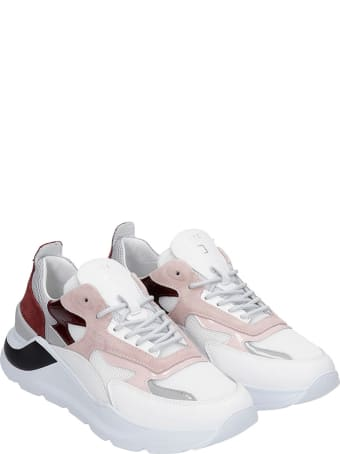 D.A.T.E. Fuga Sneakers In White Leather And Fabric