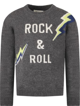 Zadig & Voltaire Grey Boy Sweater With White Logo And Colorful Thunders