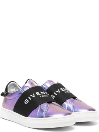 Givenchy Urban Street Kid Sneakers In Metallic Purple Leather With Band