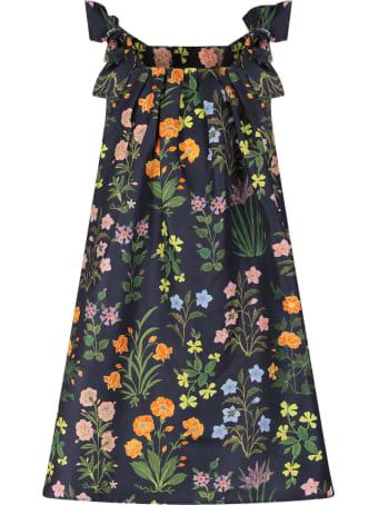 Oscar de la Renta Blue Girl Dress With Colorful Flowers