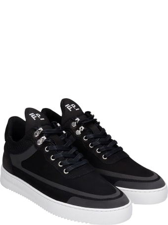 Filling Pieces Low Top Ripple Sneakers In Black Leather And Fabric