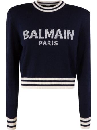 Balmain Cropped Length Logo Knit Sweater