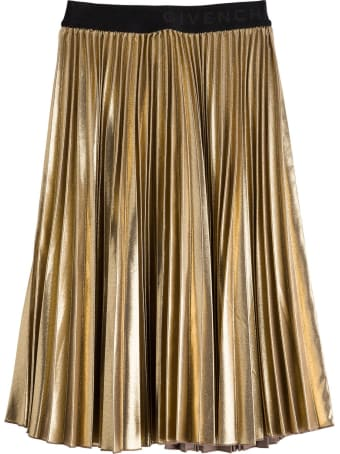 Givenchy Pleated Skirt In Gold Lamé
