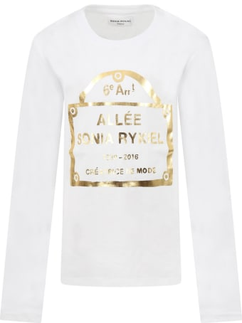 Sonia Rykiel White T-shirt For Girl With Logo