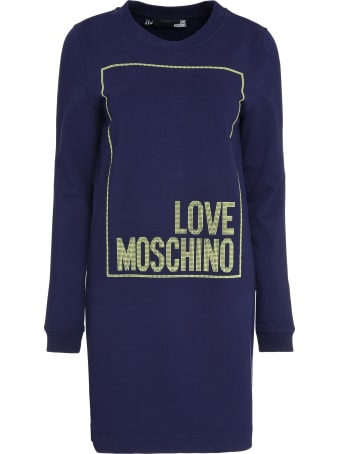 Love Moschino Logo Print Cotton Sweatdress