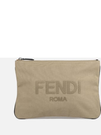 Fendi Cotton Pouch With Tone-on-tone Logo Embroidery