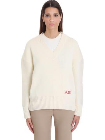 Ami Alexandre Mattiussi Knitwear In Beige Wool