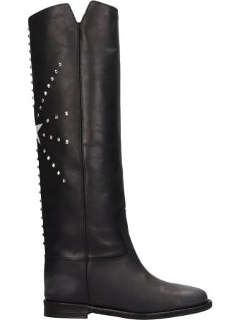 Via Roma 15 Black Calf Leather Boots