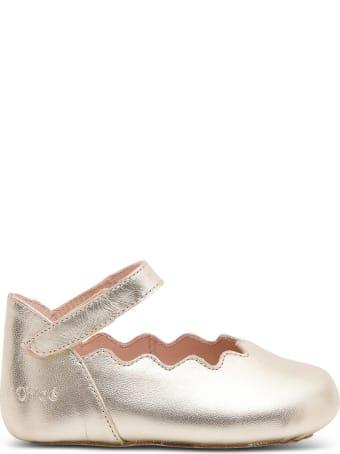 Chloé Golden Leather Flat Shoes