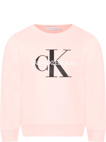 Calvin Klein Pink Sweatshirt For Girl With Double Logo