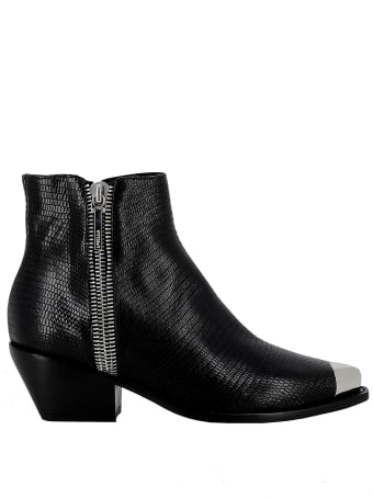 Le Silla Black Leather Ankle Boots