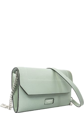 Lancel Green Leather Chain Wallet