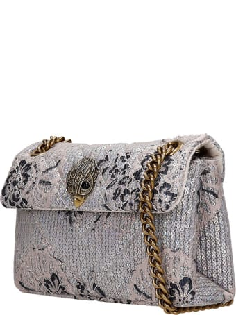 Kurt Geiger Kens  Shoulder Bag In Silver Leather