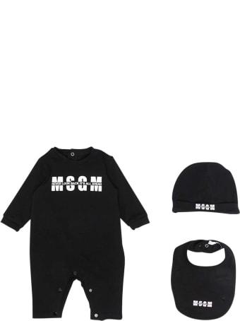 MSGM Black Romper With Logo, Hat And Bib