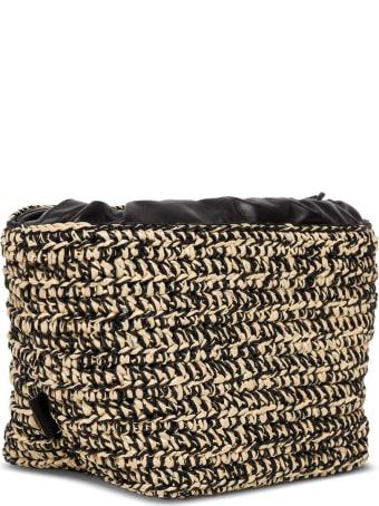 Jil Sander Shoulder Bag In Woven Raffia And Leather
