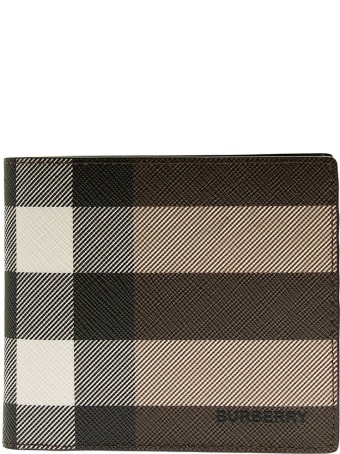 Burberry Check E-canvas International Bifold Wallet Dark Birch Brown