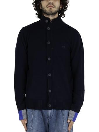 Sun 68 Cardigan Buttons Color Rib - Blue