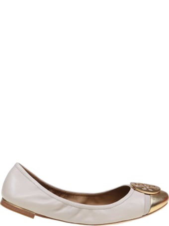 Tory Burch Minnie Cap-toe Ballerina Flat Leather Ballet Ivory Color / Gold