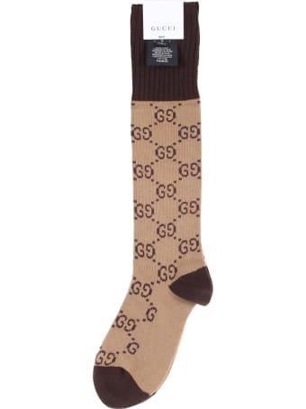 Gucci Beige and dark brown interlocking G cotton Socks