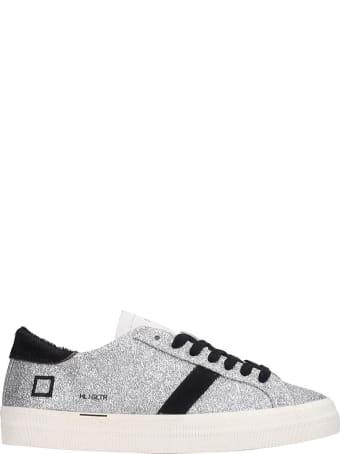 D.A.T.E. Hill Low Sneakers In Silver Glitter