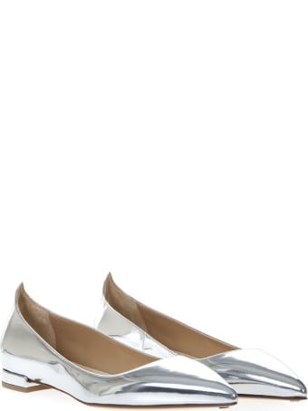Francesco Russo Silver Leather Mirror Slippers