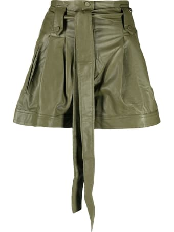 TwinSet Green Leatheret Shors With Belt