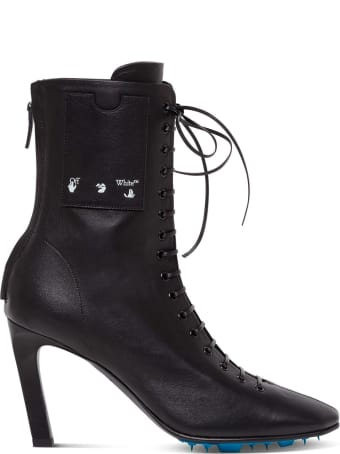 Off-White Leather Ankle Boots With Logo Print