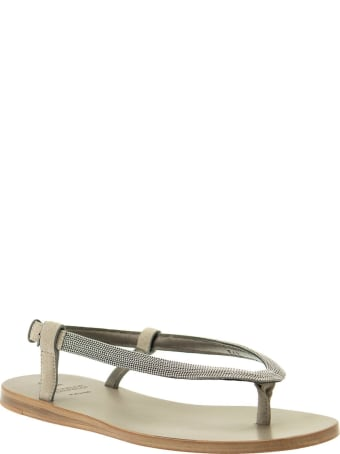 Brunello Cucinelli Suede Sandals With Precious Strap