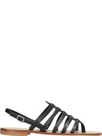 Fabio Rusconi Thong Black Calf Leather Sandals