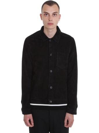 Ami Alexandre Mattiussi Shirt In Black Suede