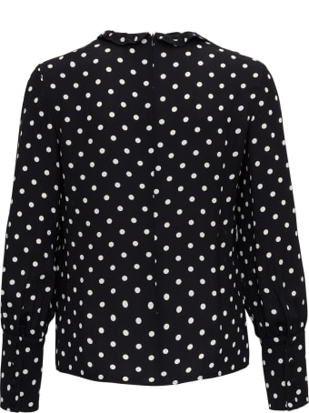 RED Valentino Pois Print Crepe Viscose Long Sleeves Shirt