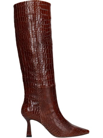 Lola Cruz High Heels Boots In Leather Color Leather