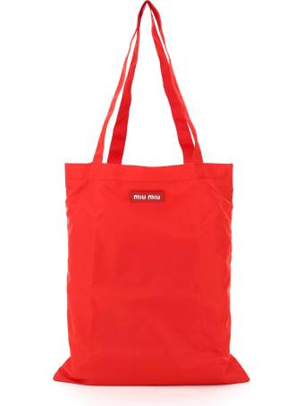 Miu Miu Foldable Nylon Tote Bag