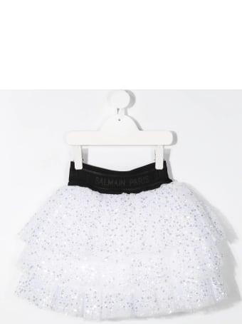 Balmain Kid White And Black Flounced Skirt With Sequins