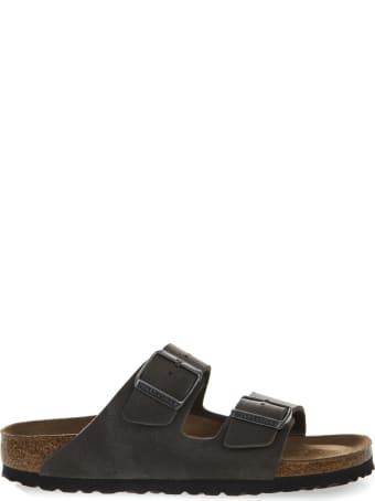 Birkenstock Grey Arizona Sandals In Birko Flor Fabric