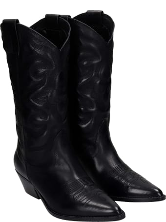 Julie Dee Texan Boots In Black Leather