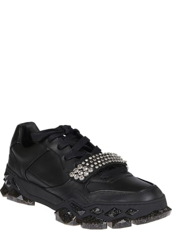 Jimmy Choo Black Leather Diamond Sneakers