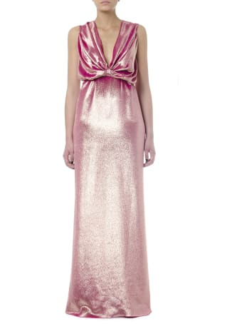 Rhea Costa Metal Pink Silk Droped Long Dress