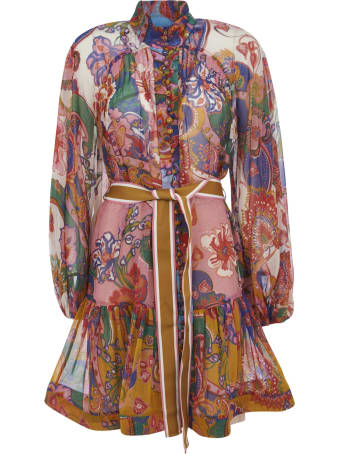 Zimmermann Belt-tie Printed Short Dress