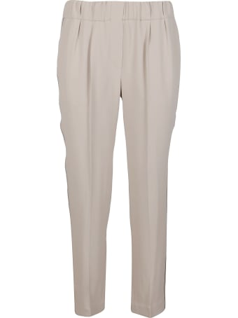 Brunello Cucinelli Beige Silk-blend Trousers