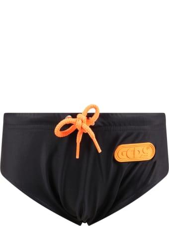 GCDS Mini Black Swimsuit For Boy With Logo