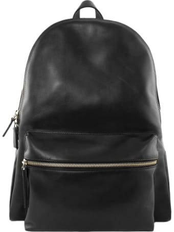 Orciani Liberty Black Leather Backpack