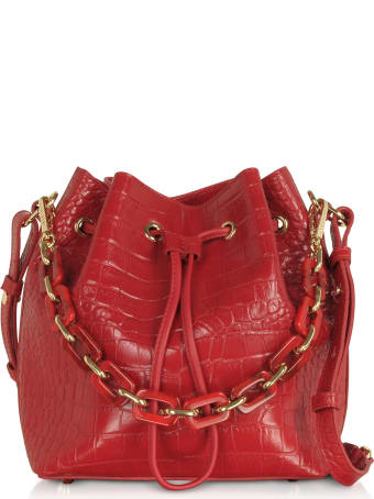 Lancaster Paris Exotic Croco Embossed Leather Bucket Bag
