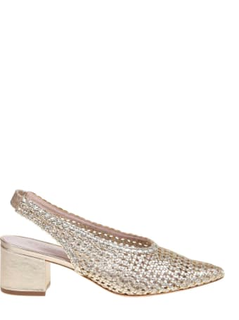 Schutz Slingback In Platinum Braided Leather