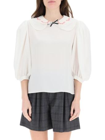 Miu Miu Silk Blouse With Embroidered Collar